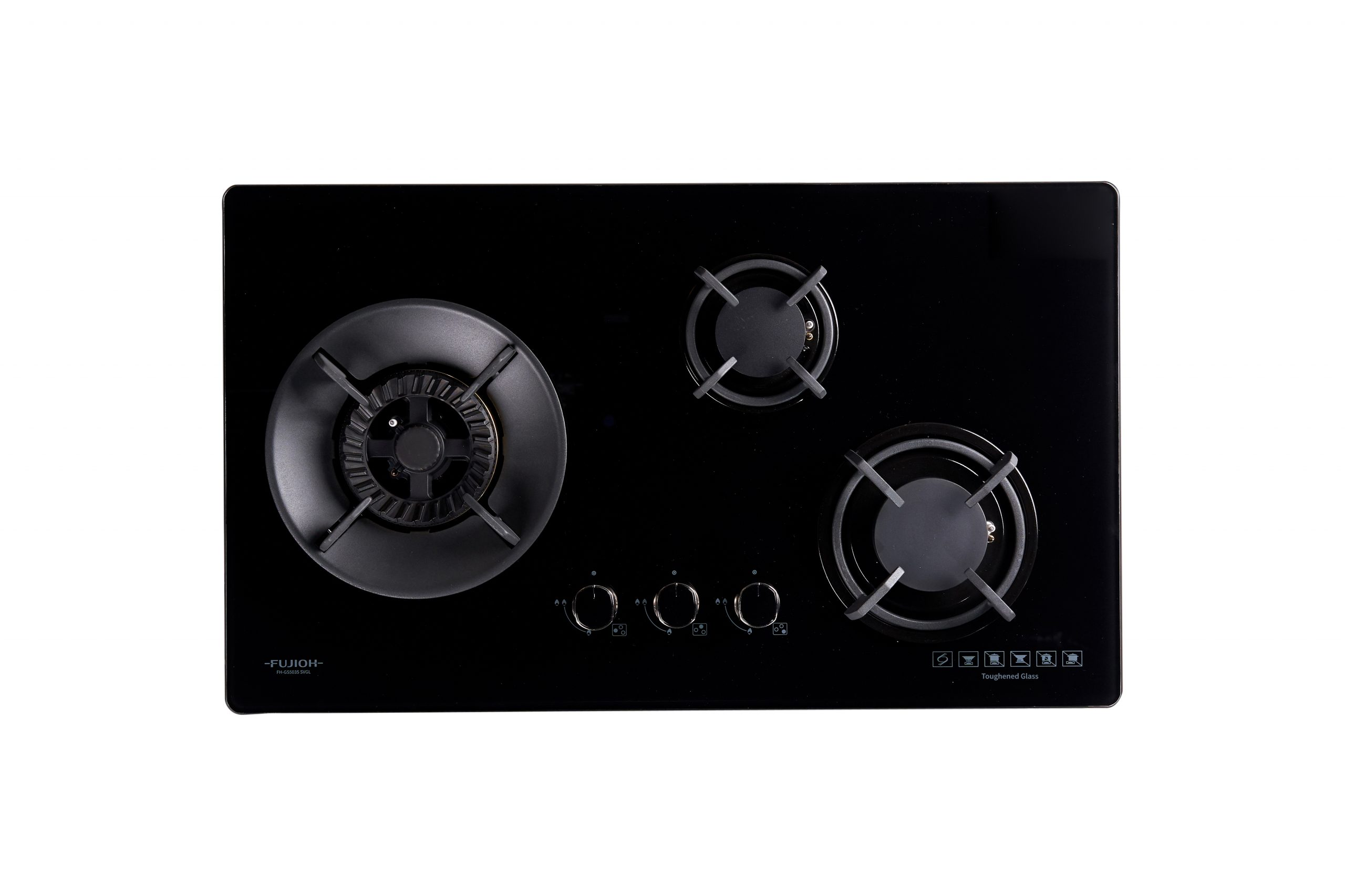 Black Glass Gas Hob with 3 Different Burner Size