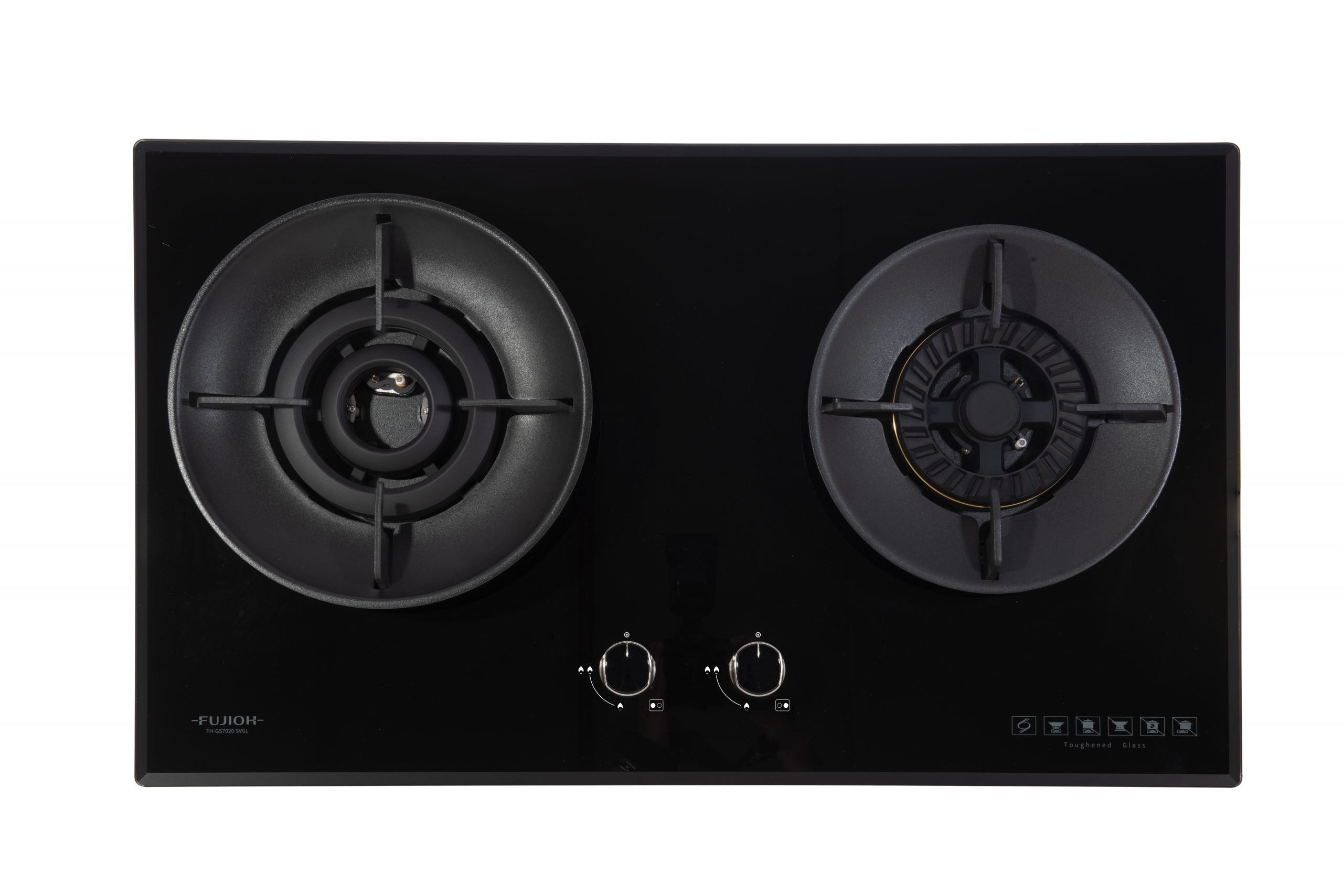 Black Glass Gas Hob with 1 Double Inner Flame Burner