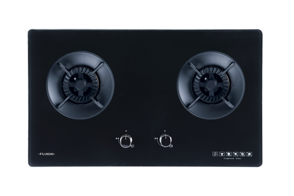 Black Glass Gas Hob with 2 Different Burner Size
