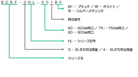 BDRF-3HLの型番の見方説明